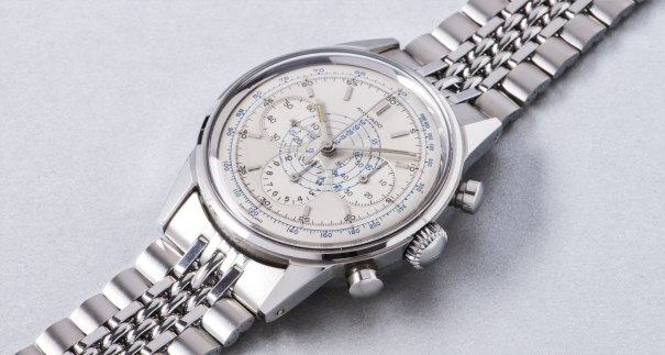 An attractive and very well preserved stainless steel chronograph wristwatch with blue tachymeter scale
