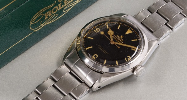 A very rare and fine stainless steel wristwatch with original presentation box