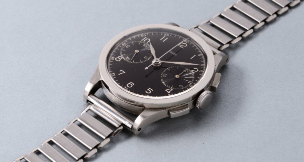 A fine rare and attractive stainless steel chronograph wristwatch with black dial