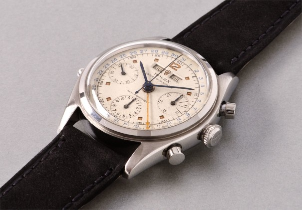 A rare and attractive stainless steel chronograph wristwatch with day, date, and month indication