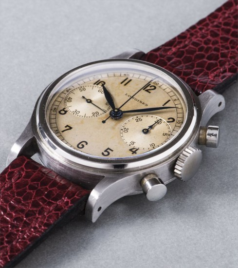An extremely rare and very attractive stainless steel chronograph wristwatch with silvered dial and oversized registers