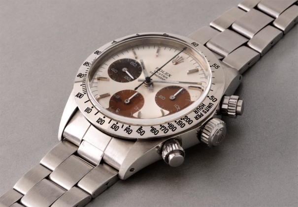 "A very attractive stainless steel chronograph wristwatch with ""tropical"" subdials, tachymeter scale, bracelet and box"