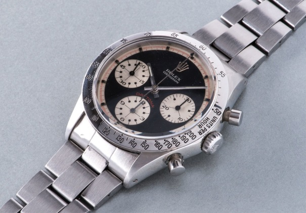 A rare and attractive stainless steel chronograph wristwatch with black dial and bracelet