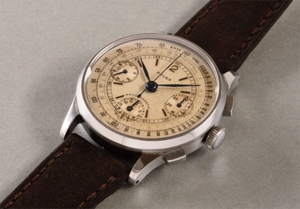 A very rare, attractive and large stainless steel antimagnetic chronograph wristwatch with tachymeter, telemeter scales and box