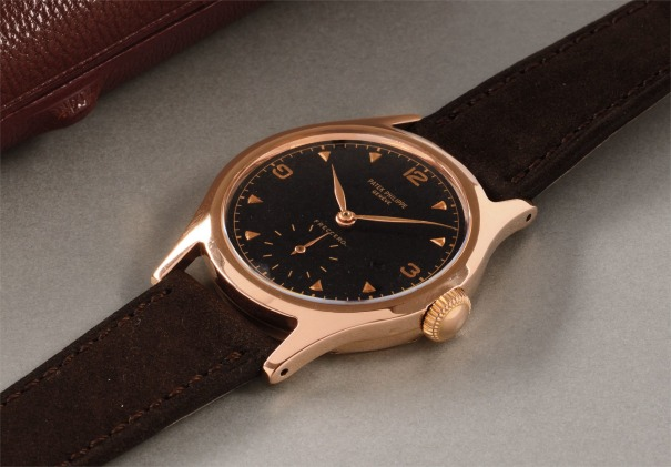 A rare and probably unique pink gold wristwatch with black dial, retailed by Freccero & Cia