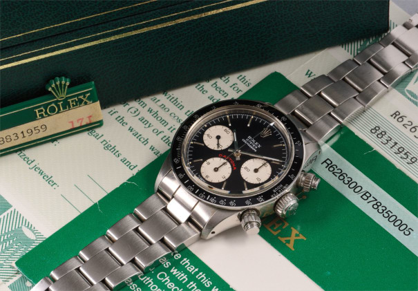 A very rare and highly attractive stainless steel chronograph wristwatch with black dial and bracelet, accompanied by presentation box, guarantee, and certificate from Beyer in Zürich