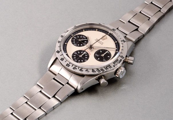 An extremely rare and highly attractive stainless steel chronograph wristwatch with bracelet, accompanied by presentation box and additional bracelet