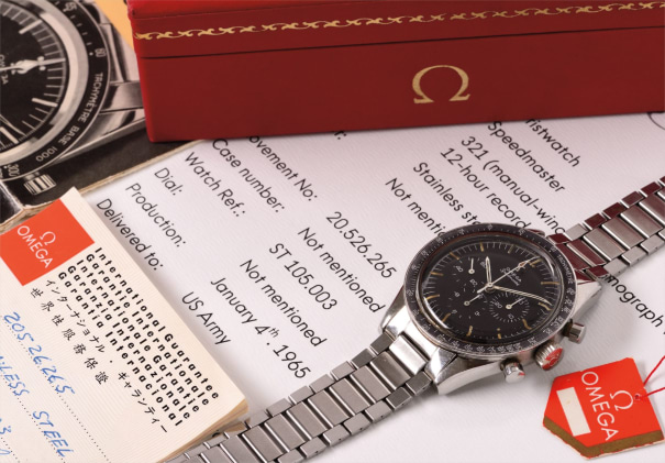 A very attractive and historically important stainless steel chronograph wristwatch with tachymeter scale, bracelet, box, papers and hang tag