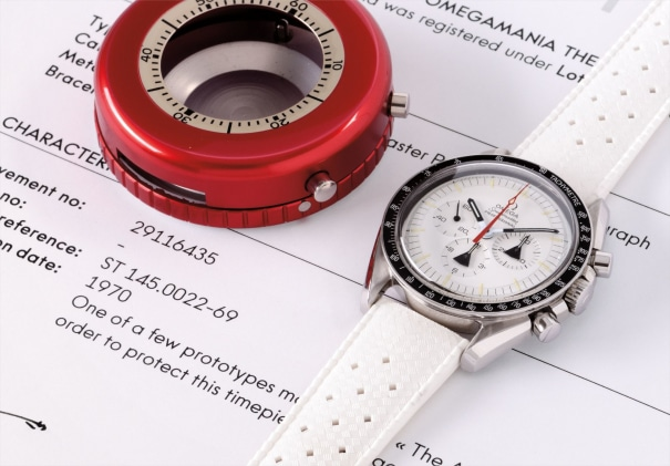 An extremely rare and unusual stainless steel prototype chronograph wristwatch with white dial and tachometer bezel, accompanied by red thermo-protective case, made for NASA