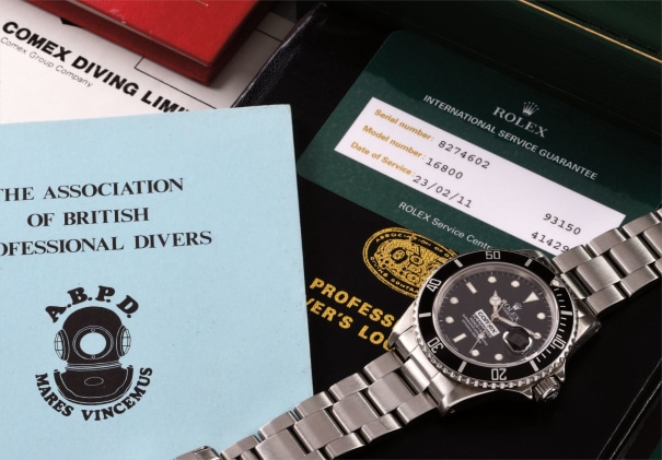 A rare and attractive stainless steel diver's wristwatch with date, bracelet, box and literature about the original owner's career, made for COMEX
