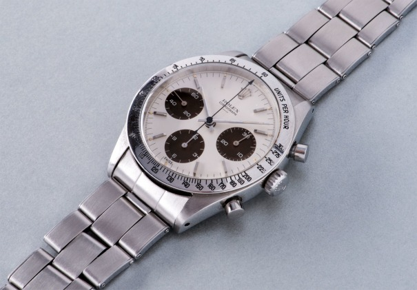"""A very rare and early stainless steel chronograph wristwatch with """"Underline Double Swiss"""" dial with tropical subsidiary dials"""