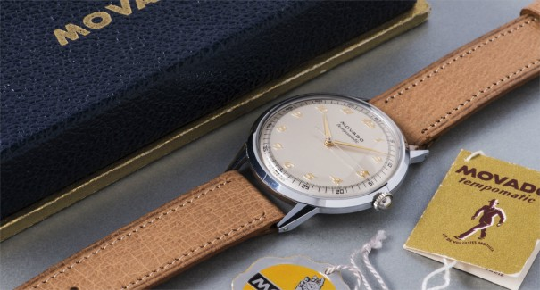 A large and attractive stainless steel wristwatch with gold Breguet numerals, original box and hang tags