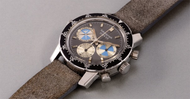 A very fine and rare stainless steel chronograph wristwatch with tidal indication, retailed by Orvis