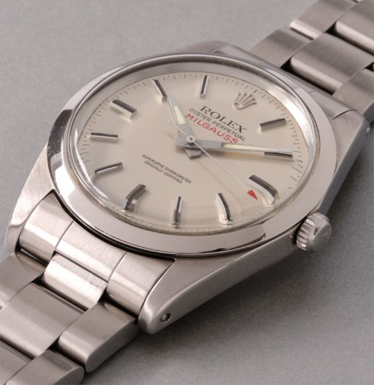 An attractive and rare stainless steel anti-magnetic wristwatch with center seconds and silver dial