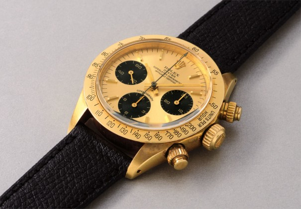 A very rare and attractive yellow gold chronograph wristwatch