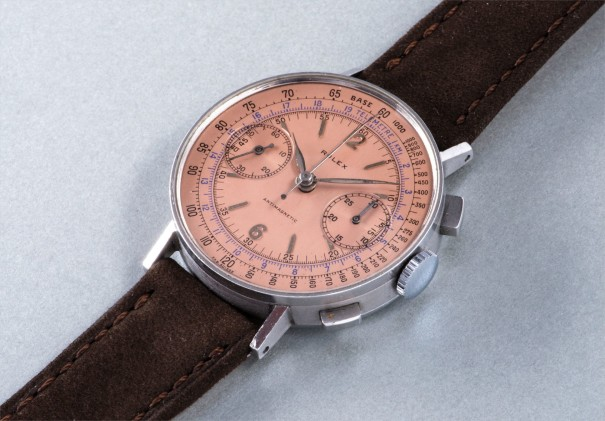 A very rare and attractive stainless steel chronograph wristwatch with salmon colored dial, tachymeter and blue telemeter scales