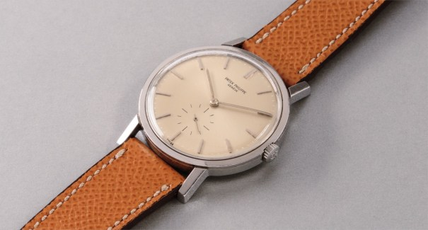 A very rare and highly attractive stainless steel wristwatch with silvered dial