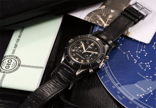 A very rare and attractive stainless steel military issued fly-back chronograph wristwatch accompanied by a portfolio of astronomical calculations and sky chart