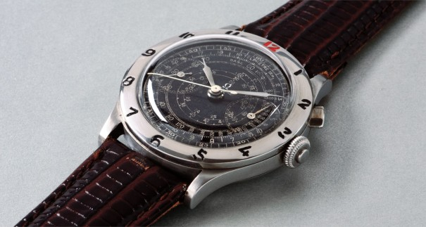 A rare, large and attractive chronograph wristwatch with black dial and calibrated bezel