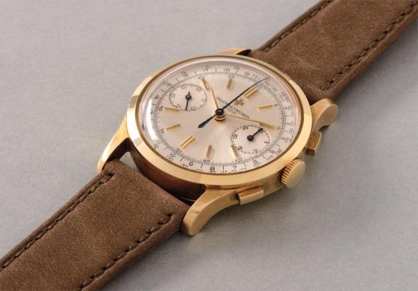 A rare, attractive and very well preserved yellow gold chronograph wristwatch with telemeter scale