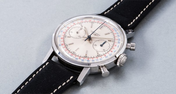 A fine and attractive stainless steel chronograph wristwatch with tachymeter and telemeter scales