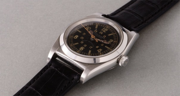 A fine and attractive stainless steel wristwatch with  black 24-hour dial