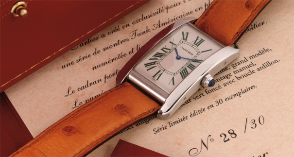 A fine and attractive large rectangular limited edition platinum wristwatch with dark green Roman numerals