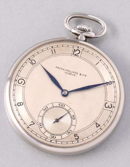 A very fine and rare stainless steel open face pocket watch with three-tone dial