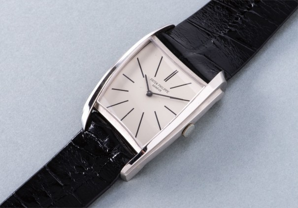 An extremely rare and possibly unique white gold asymmetrical wristwatch, designed by Gilbert Albert
