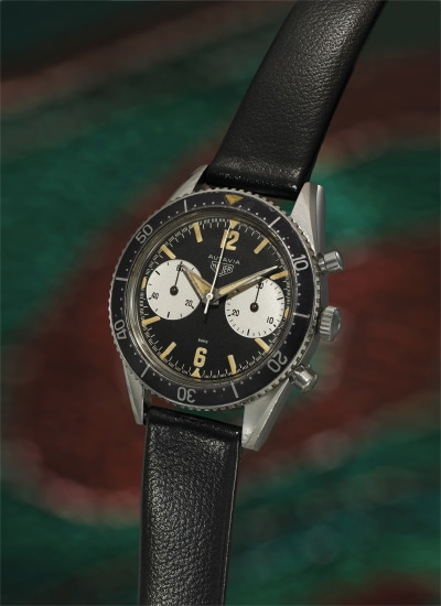 An exceptional stainless steel chronograph wristwatch with a 30-minute subsidiary register, black dial and minute bezel.