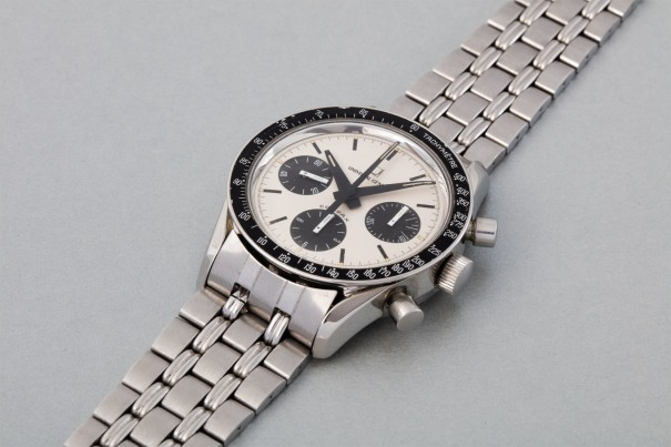 A rare and attractive stainless steel chronograph wristwatch with bracelet