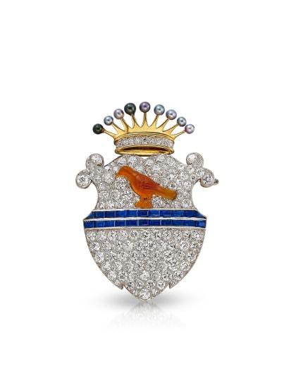 A Diamond, Sapphire, Pearl, Platinum and Gold Brooch, Circa 1900