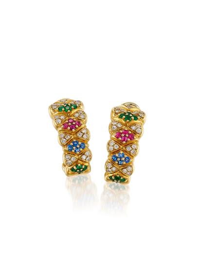 A Pair of Diamond, Multi-Gem and Gold Earrings, Circa 1980