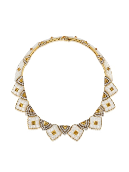 A Diamond, Citrine, Mother-of-Pearl and Gold Necklace, Circa 1970