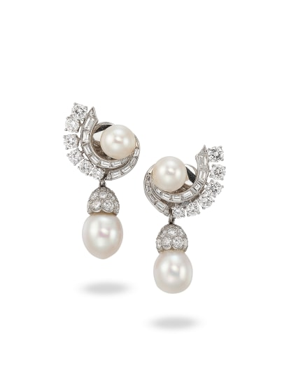 A Pair of Diamond, Pearl and Platinum Earrings, Circa 1960