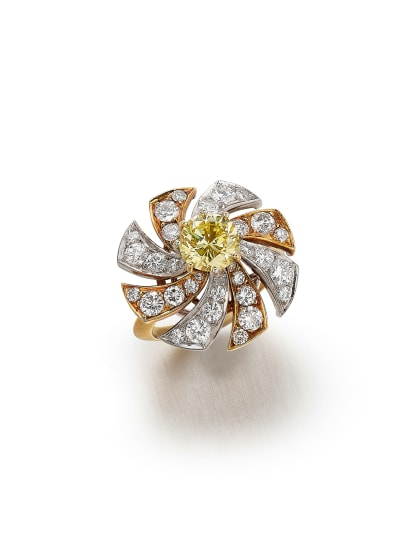 A Colored Diamond, Diamond, Platinum and Gold Ring
