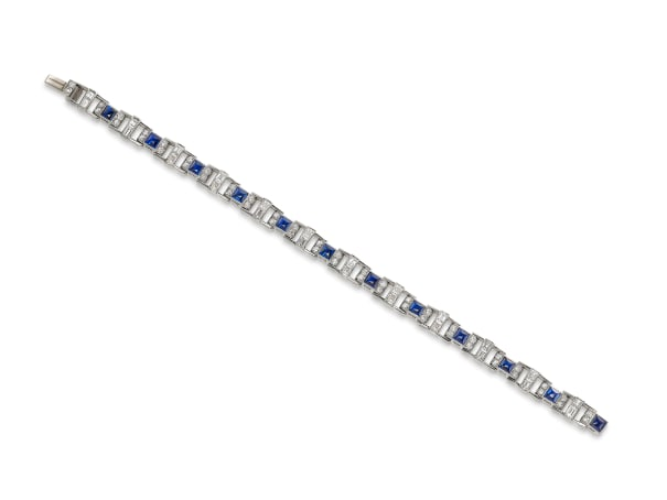 An Art Deco Sapphire, Diamond and Platinum Bracelet