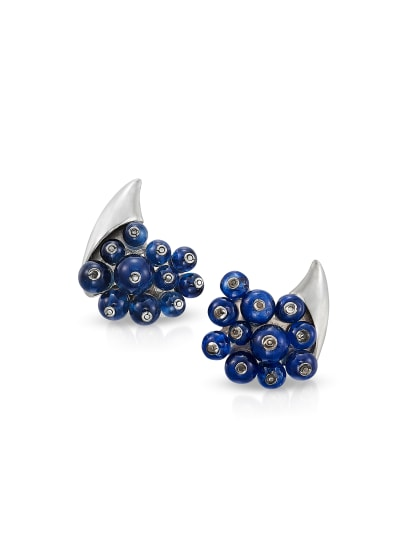 A Pair of Sapphire and Gold Earrings
