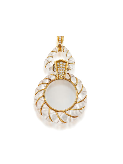 A Rock Crystal, Diamond and Gold Pendant
