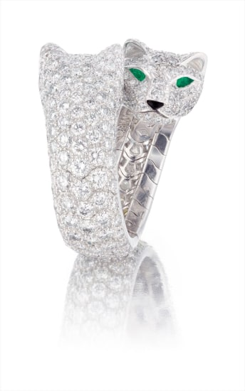 9d8fe7867c59f Cartier - A Rare Diamond, Emerald and Onxy 'Double Panther' Ring ...