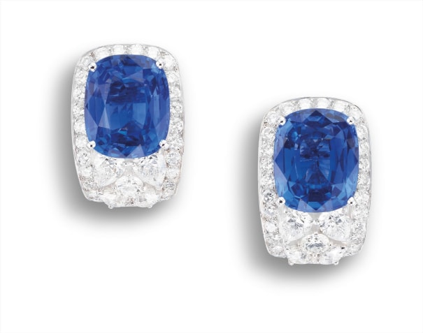 A Pair of Sapphire and Diamond Earclips, Cartier