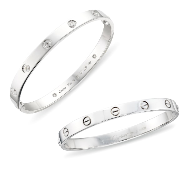 A Diamond 'LOVE' Bangle, and A Karat White Gold 'LOVE' Bangle, Cartier
