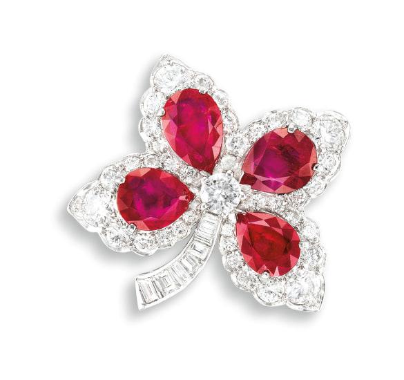 A Ruby and Diamond 'Clover' Brooch, Cartier