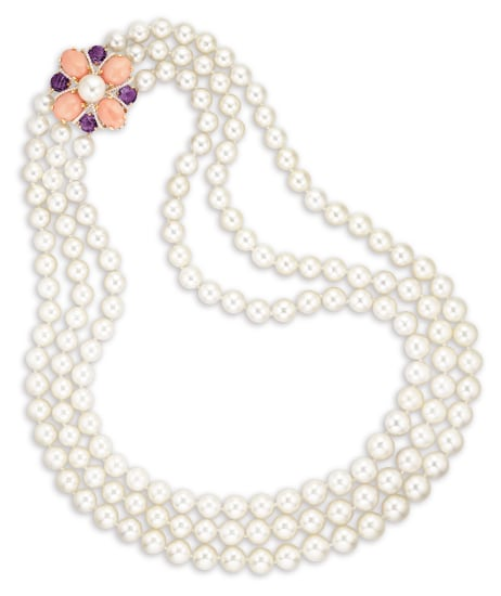 A Triple-Strand Cultured Pearl, Gem-set and Diamond Necklace