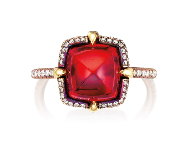 A Red Spinel and Diamond Ring