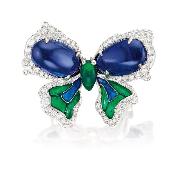 A Sapphire, Diamond and Plique-à-jour Enamel 'Ribbon Bow' Ring