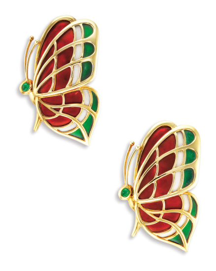 A Pair of Karat Gold, Enamel and Emerald 'Butterfly' Brooches, Mauboussin Paris