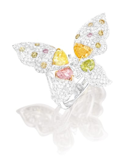 An Exquisite Coloured Diamond and Diamond 'Butterfly' Ring/Pendant