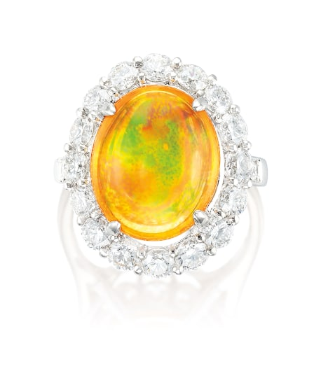 A Fire Opal and Diamond Ring