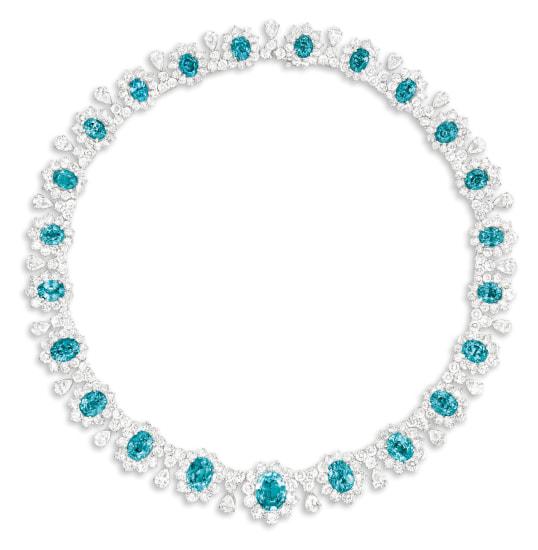 A Blue Zircon and Diamond Necklace